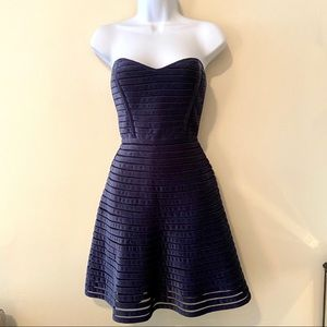 GUC Parker Navy Striped Velvet Strapless Dress | S